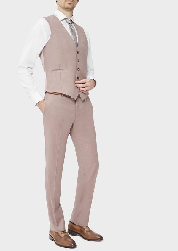 Gilet de costume en laine unie rose - Father and Sons 39095