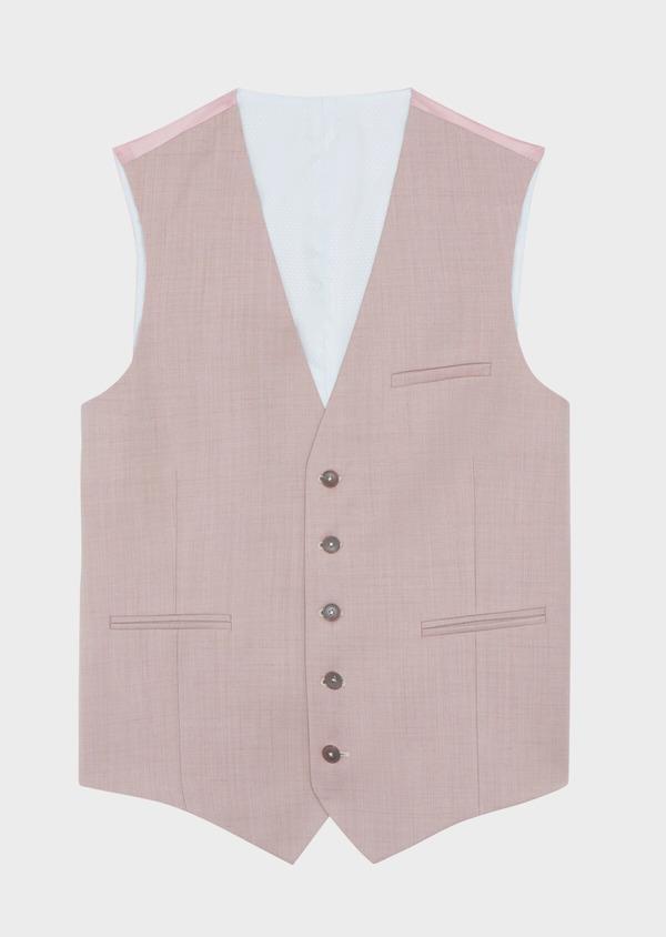 Gilet de costume en laine unie rose - Father and Sons 39093