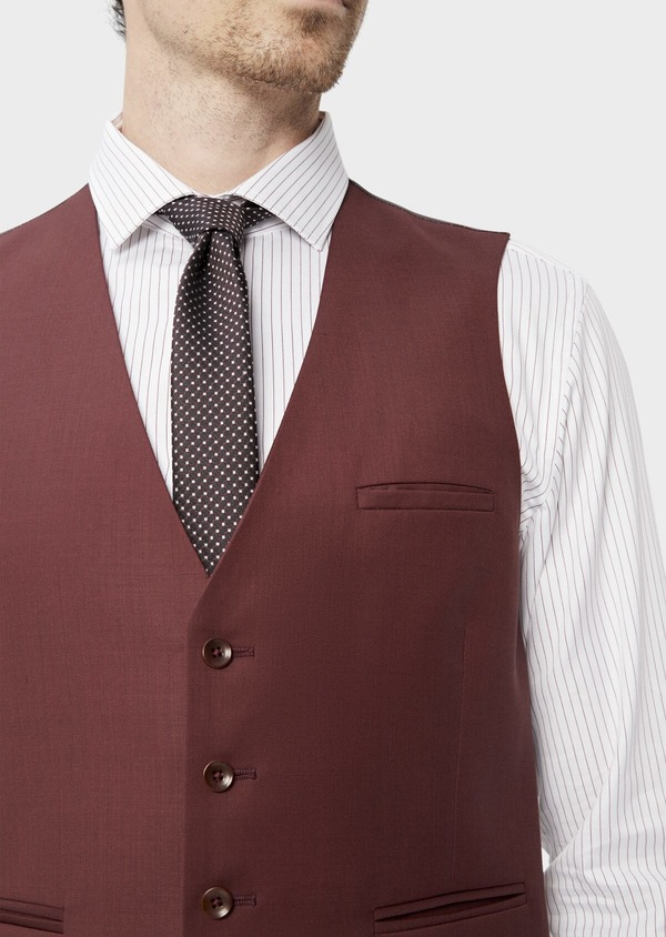 Gilet de costume en laine unie bordeaux - Father and Sons 39124