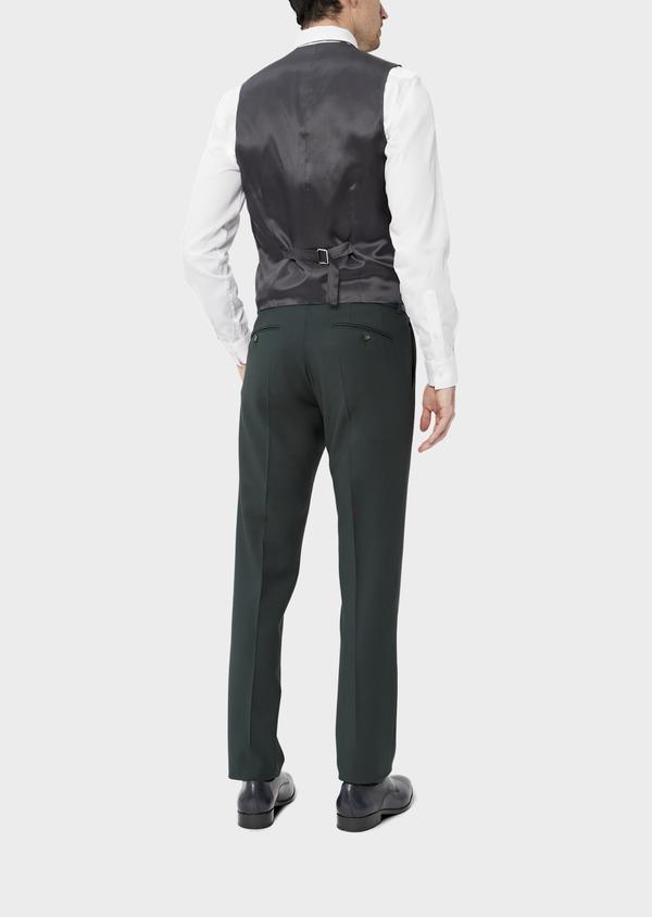 Gilet de costume en laine stretch unie verte - Father and Sons 39108