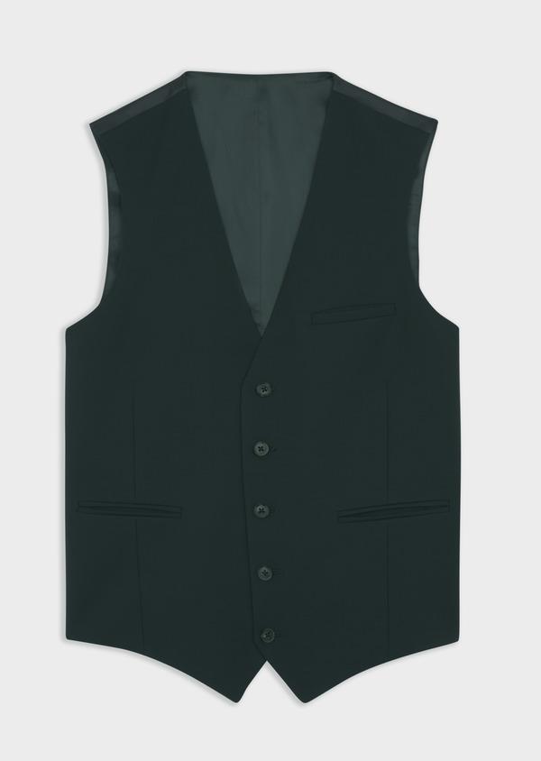 Gilet de costume en laine stretch unie verte - Father and Sons 39105