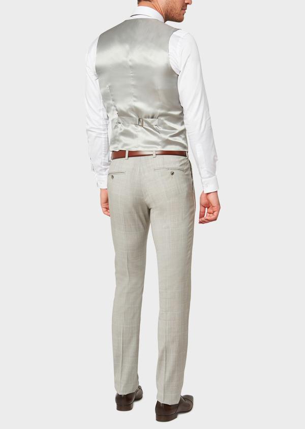 Gilet de costume en laine beige Prince de Galles - Father and Sons 33108