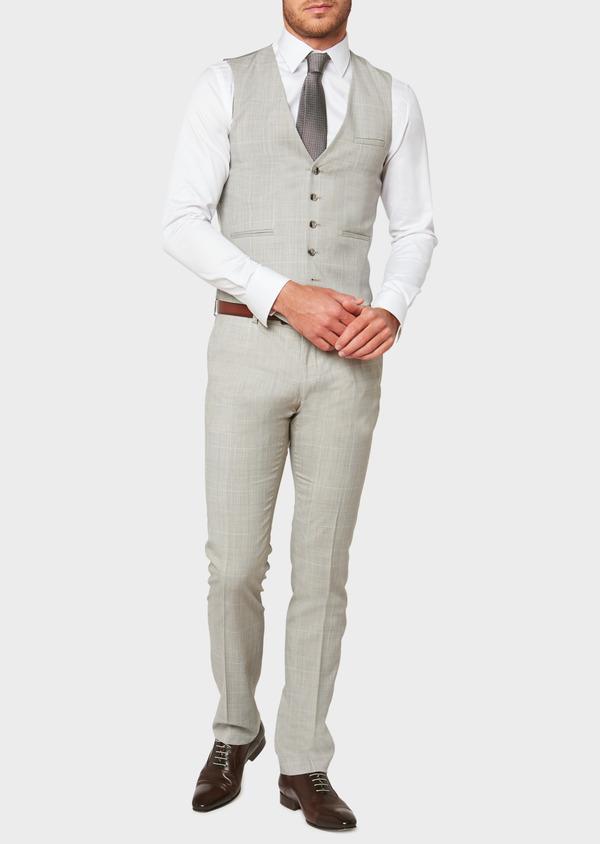 Gilet de costume en laine beige Prince de Galles - Father and Sons 33107