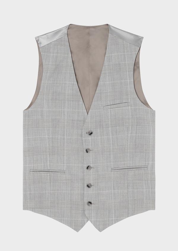 Gilet de costume en laine beige Prince de Galles - Father and Sons 33105