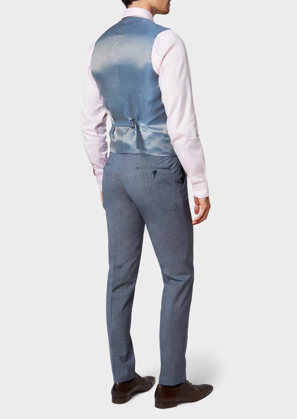 Gilet de costume en laine bleu chambray Prince de Galles - Father and Sons 33118
