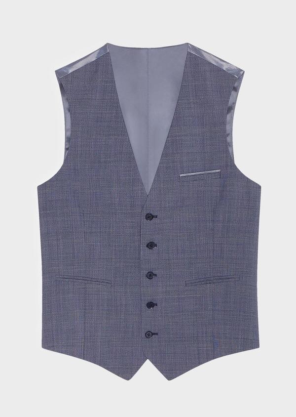 Gilet de costume en laine bleu chambray Prince de Galles - Father and Sons 33115