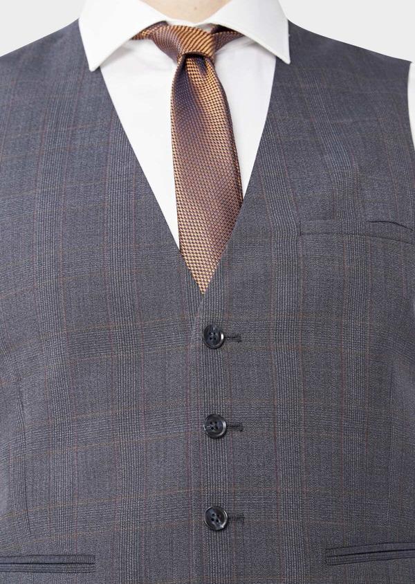 Gilet de costume en laine stretch naturelle bleu chambray Prince de Galles - Father and Sons 37311
