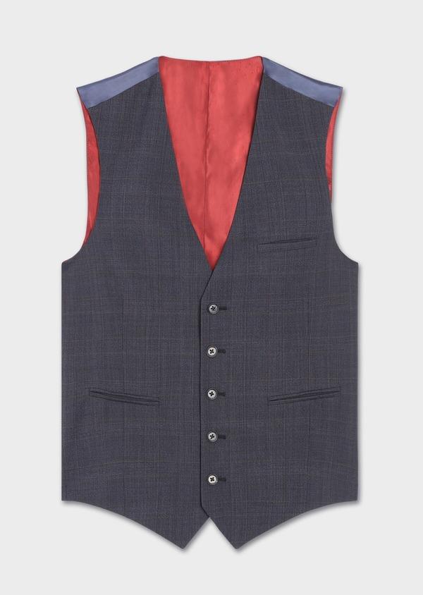 Gilet de costume en laine stretch naturelle bleu chambray Prince de Galles - Father and Sons 37310