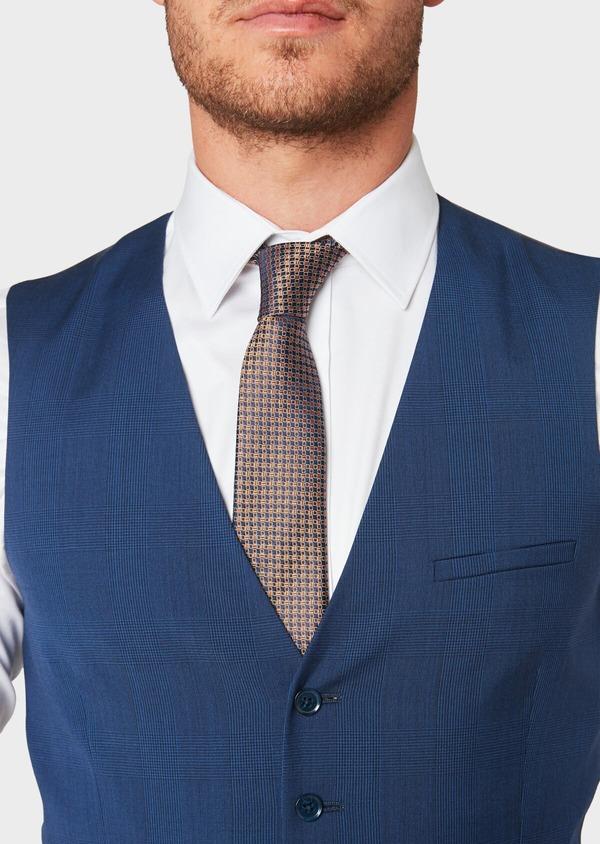 Gilet de costume en laine bleu indigo Prince de Galles - Father and Sons 33124