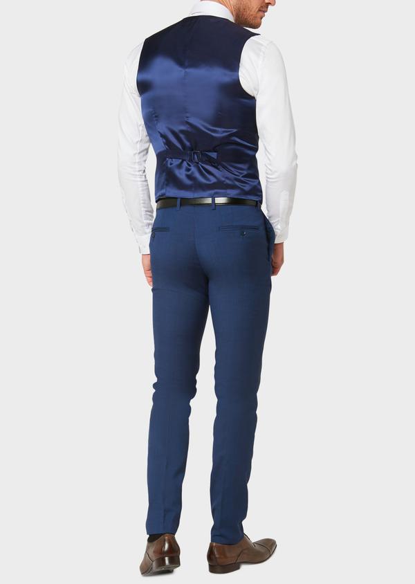 Gilet de costume en laine bleu indigo Prince de Galles - Father and Sons 33123