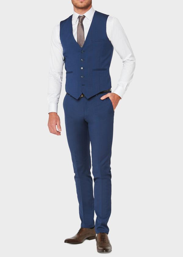 Gilet de costume en laine bleu indigo Prince de Galles - Father and Sons 33122