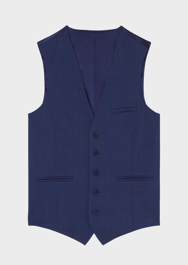 Gilet de costume en laine bleu indigo Prince de Galles - Father and Sons 33120
