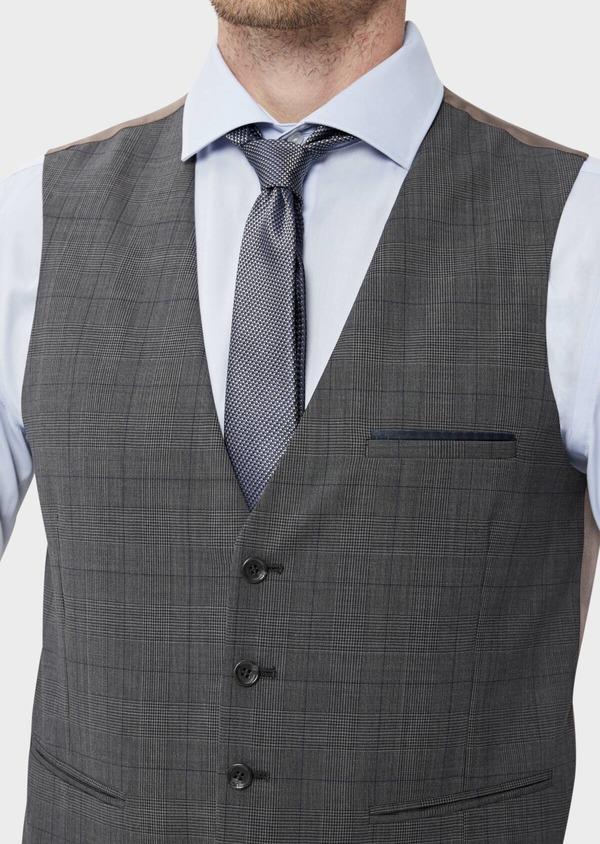 Gilet de costume en laine stretch naturelle marron Prince de Galles - Father and Sons 35810