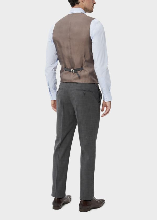 Gilet de costume en laine stretch naturelle marron Prince de Galles - Father and Sons 35809