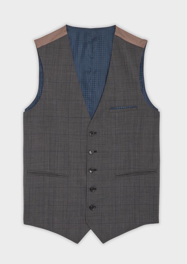 Gilet de costume en laine stretch naturelle marron Prince de Galles - Father and Sons 35806
