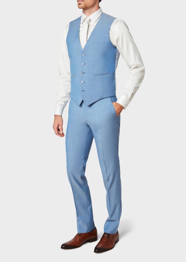 Gilet de costume en laine unie bleu azur - Father and Sons 33126