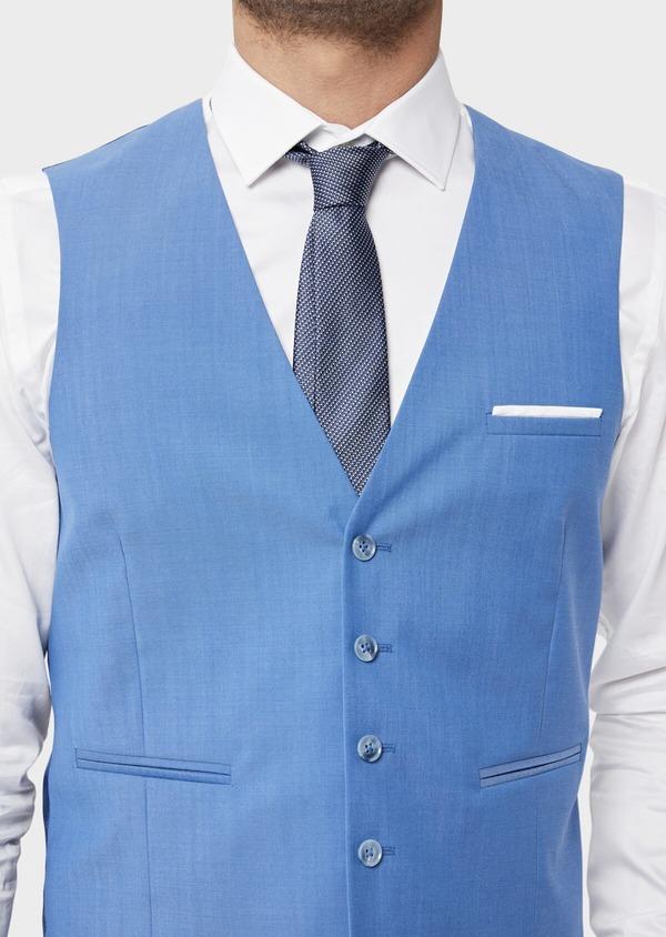 Gilet de costume en laine unie bleu azur - Father and Sons 36006