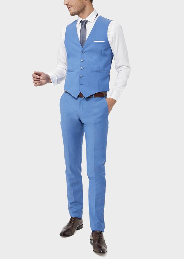 Gilet de costume en laine unie bleu azur - Father and Sons 36004