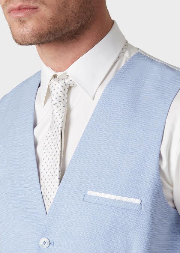 Gilet de costume en laine unie bleu clair - Father and Sons 33837