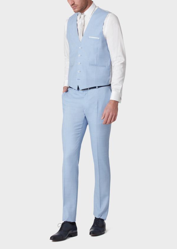 Gilet de costume en laine unie bleu clair - Father and Sons 33835
