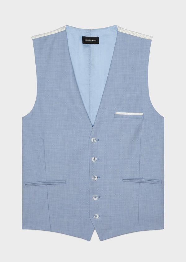 Gilet de costume en laine unie bleu clair - Father and Sons 33833