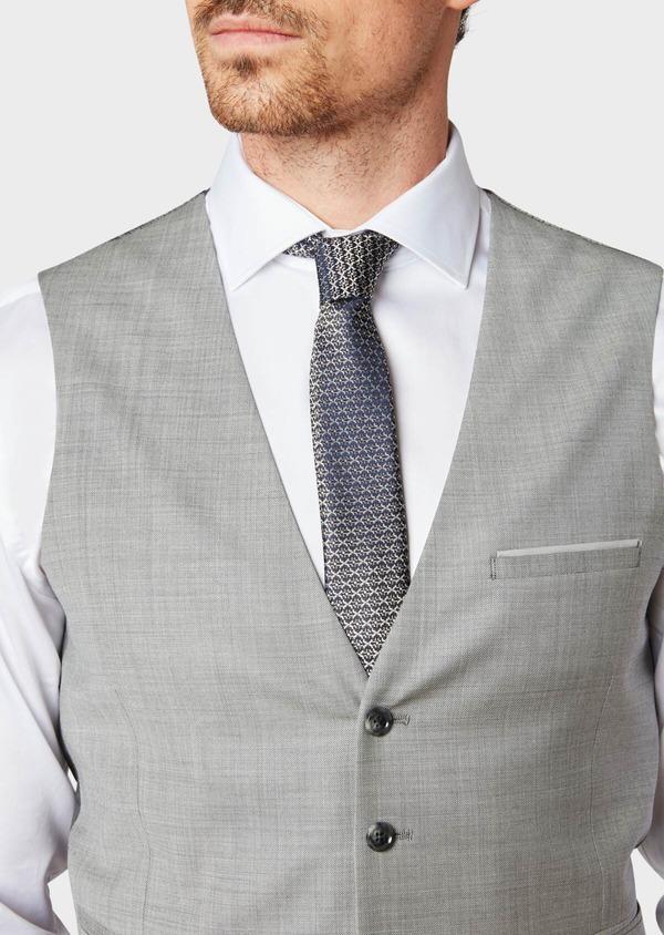 Gilet de costume en laine unie grise - Father and Sons 33104