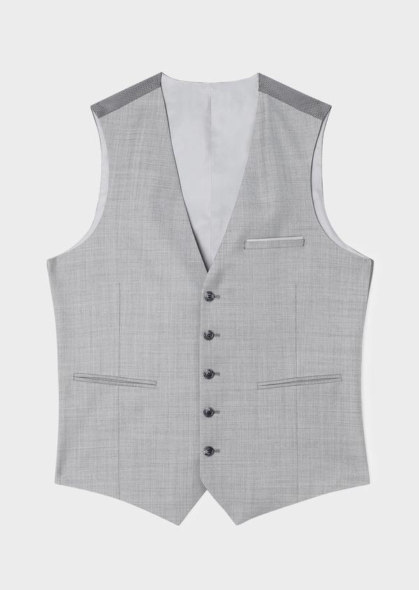 Gilet de costume en laine unie grise - Father and Sons 33100