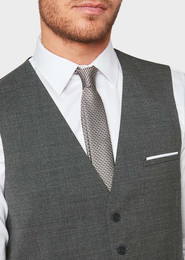 Gilet de costume voyage en laine unie grise - Father and Sons 31829