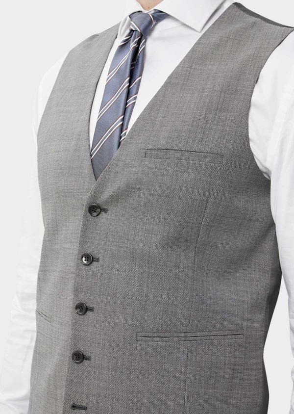 Gilet de costume en laine stretch naturelle unie grise - Father and Sons 35297