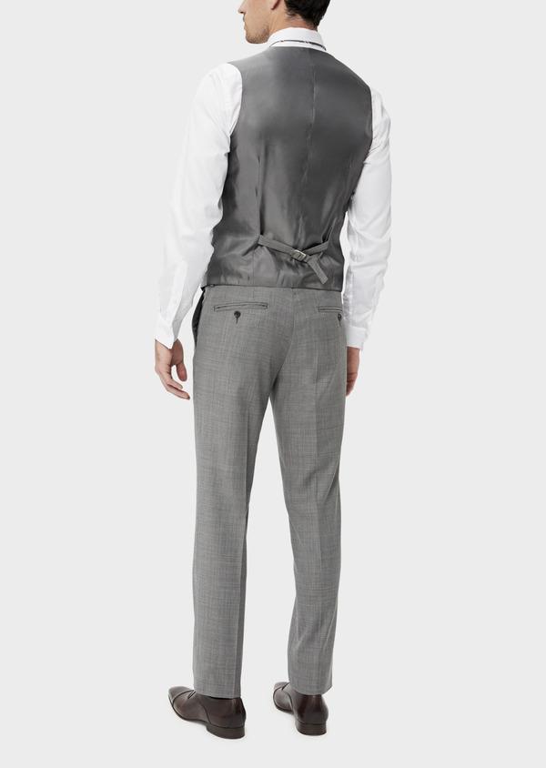 Gilet de costume en laine stretch naturelle unie grise - Father and Sons 35296