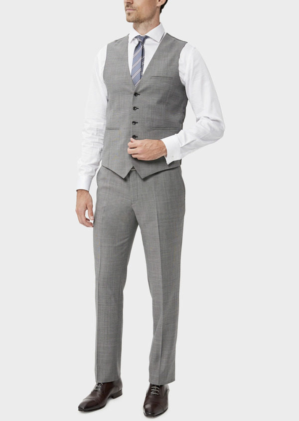 Gilet de costume en laine stretch naturelle unie grise - Father and Sons 35295