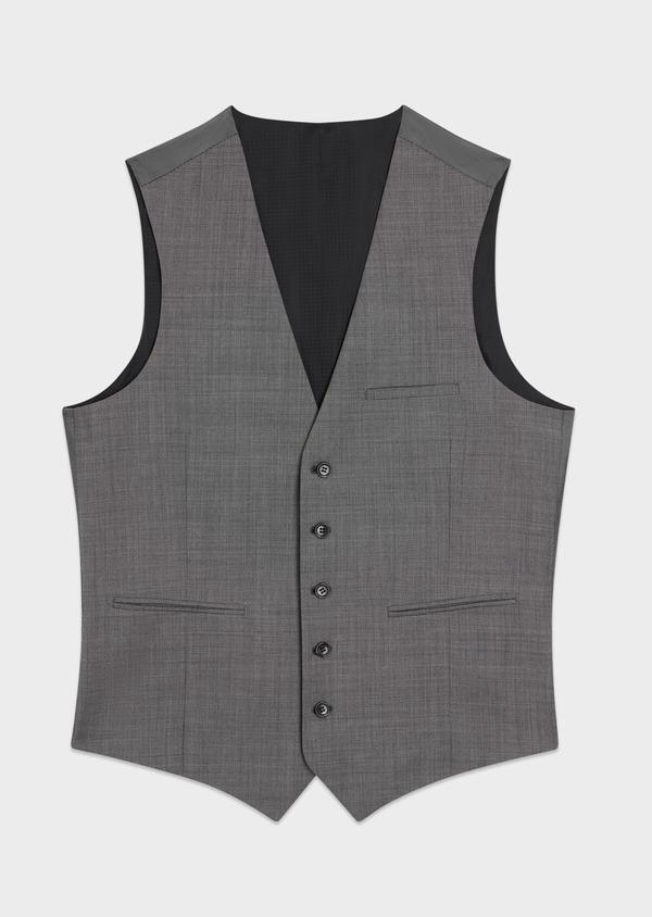Gilet de costume en laine stretch naturelle unie grise - Father and Sons 35293