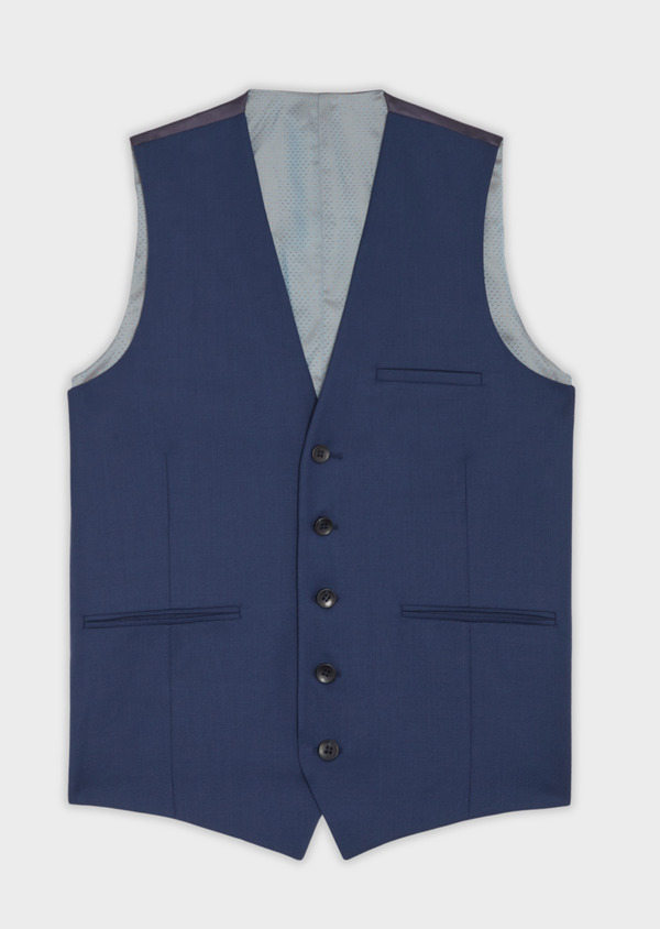 Gilet de costume en laine bleu indigo unie - Father and Sons 35811