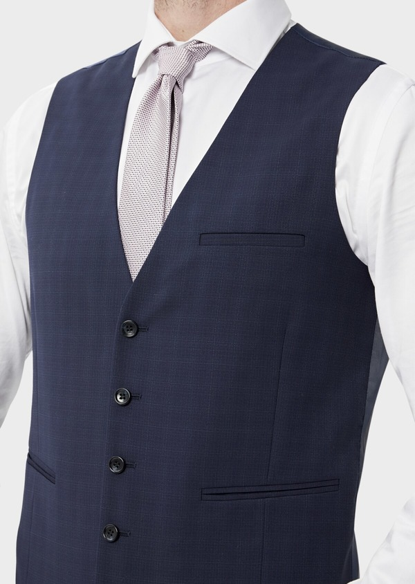 Gilet de costume en laine stretch naturelle unie bleu indigo - Father and Sons 35287