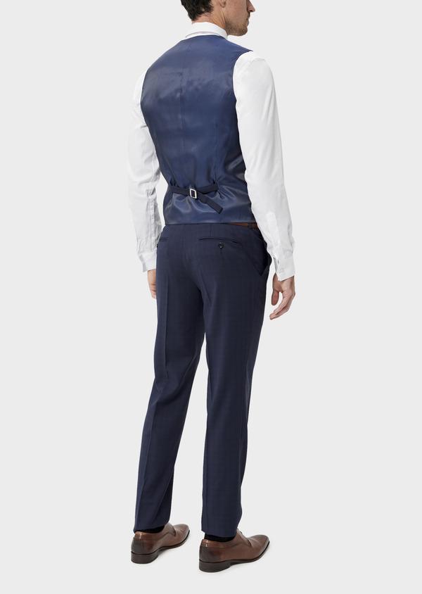 Gilet de costume en laine stretch naturelle unie bleu indigo - Father and Sons 35286