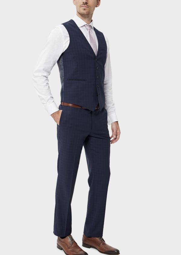 Gilet de costume en laine stretch naturelle unie bleu indigo - Father and Sons 35285