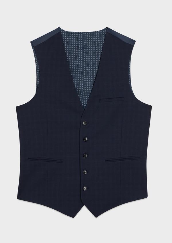 Gilet de costume en laine stretch naturelle unie bleu indigo - Father and Sons 35283