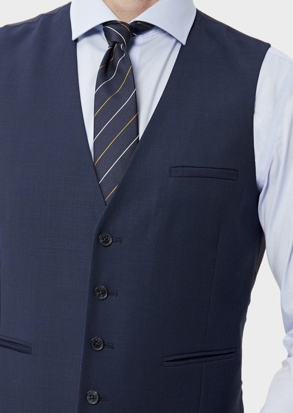 Gilet de costume en laine unie bleu indigo - Father and Sons 35292