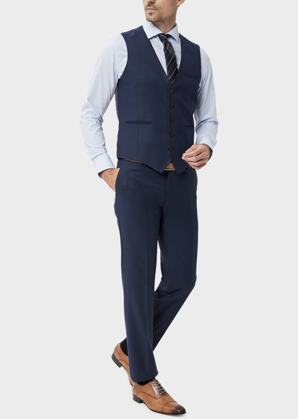 Gilet de costume en laine unie bleu indigo - Father and Sons 35290
