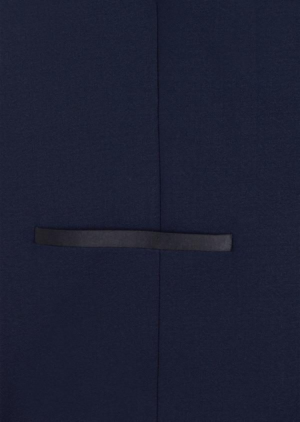 Gilet de smoking en laine unie bleu indigo - Father and Sons 35304