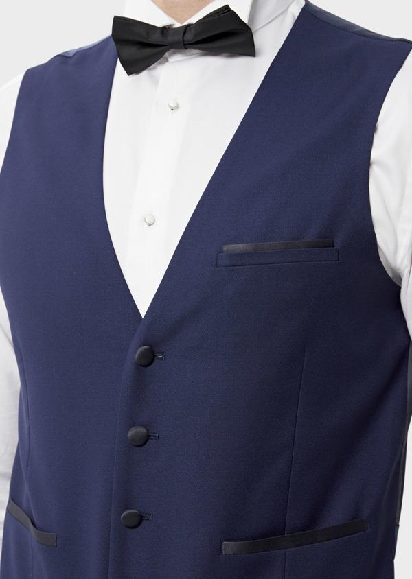 Gilet de smoking en laine unie bleu indigo - Father and Sons 35307