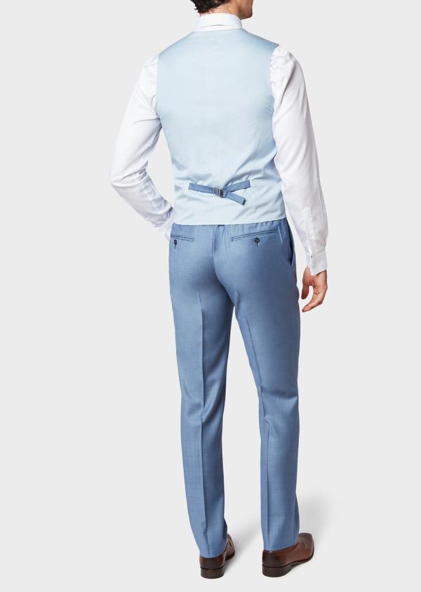 Gilet de costume en laine unie bleue - Father and Sons 33088