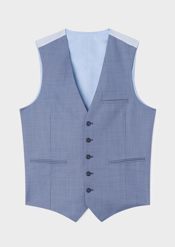 Gilet de costume en laine unie bleue - Father and Sons 33085