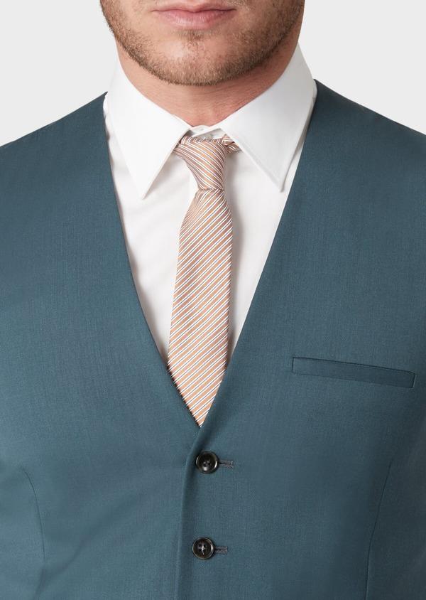 Gilet de costume en laine unie vert foncé - Father and Sons 33852