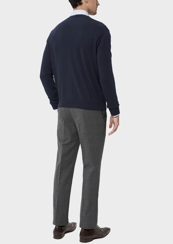 Cardigan boutonné en coton uni bleu marine - Father and Sons 34545