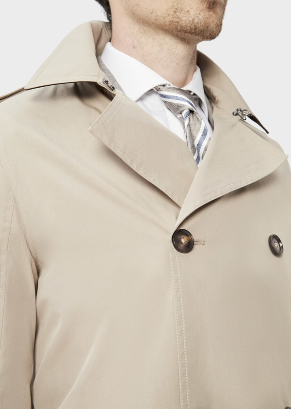 Trench croisé double boutonnage uni beige - Father and Sons 39058