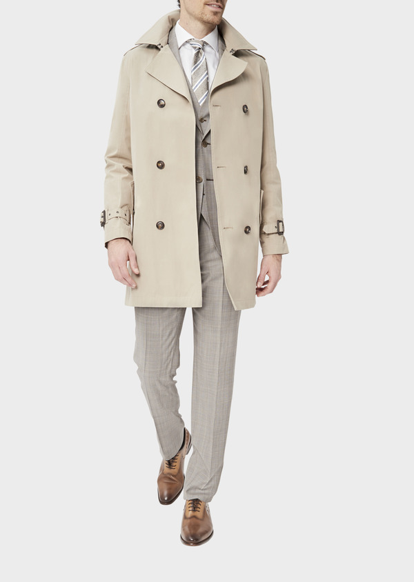 Trench croisé double boutonnage uni beige - Father and Sons 39056