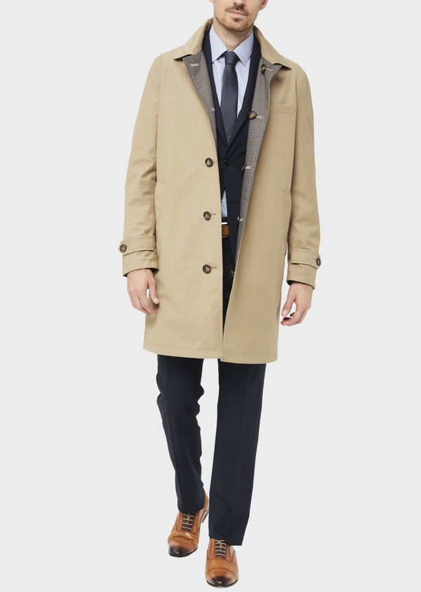 Trench droit réversible uni beige - Father and Sons 39062