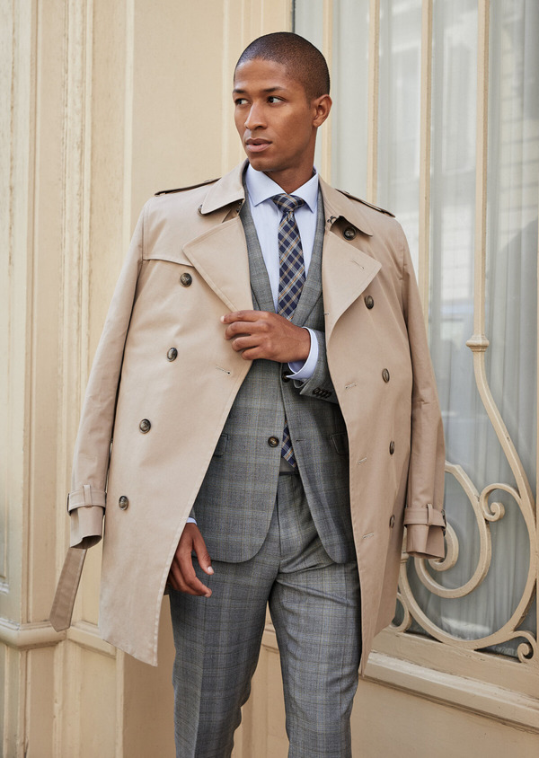 Trench croisé double boutonnage uni beige - Father and Sons 41675