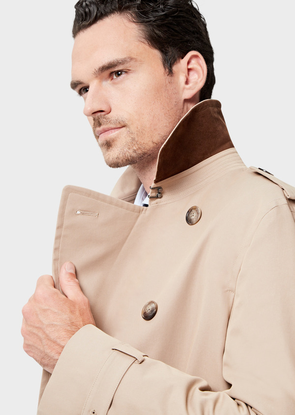 Trench croisé double boutonnage uni beige - Father and Sons 41679